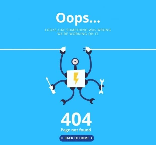 error 404 por que mi sitio no abre se dañó